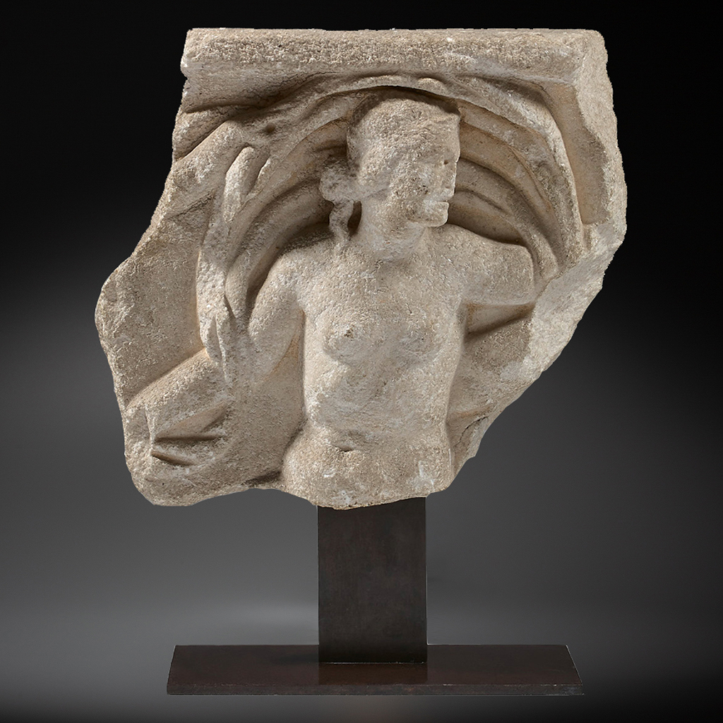 Fragment of a sarcophagus with a Nereid roman marble